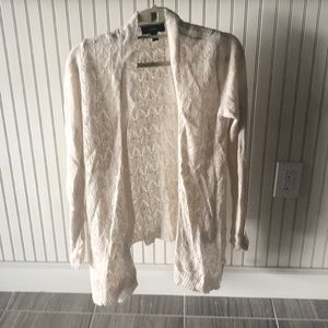 Women's Cream Open Front Cardigan